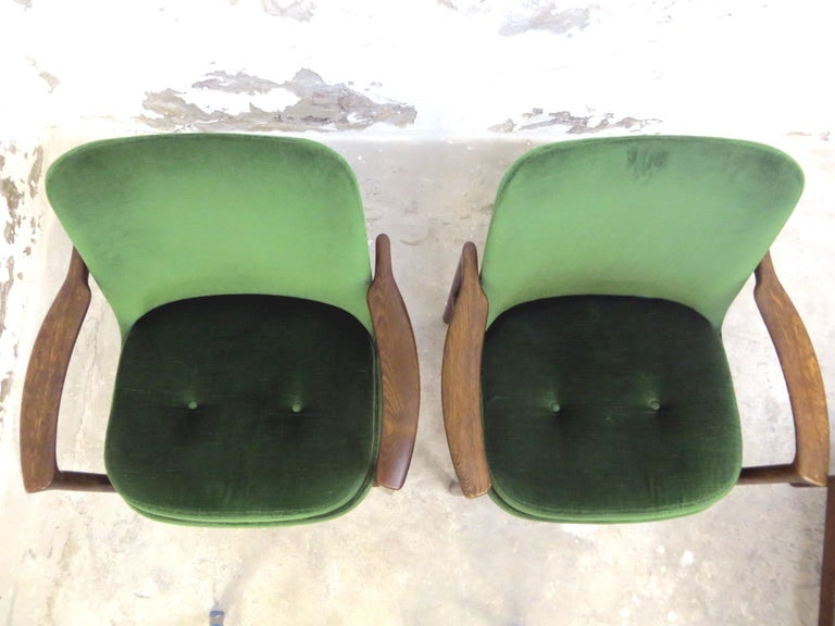 Ib Kofod-Larsen Danish Design Armchair Lounge Chairs in Green Velvet, Set of 6   7