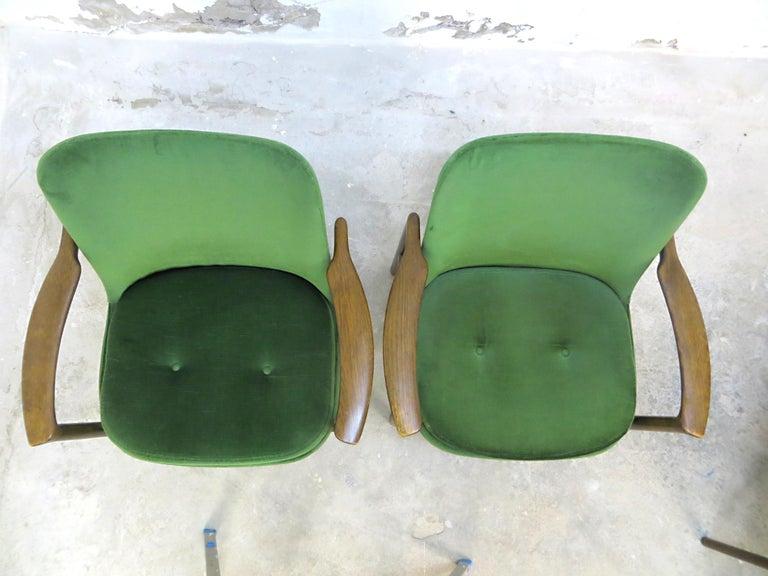 Ib Kofod-Larsen Danish Design Armchair Lounge Chairs in Green Velvet, Set of 6   8