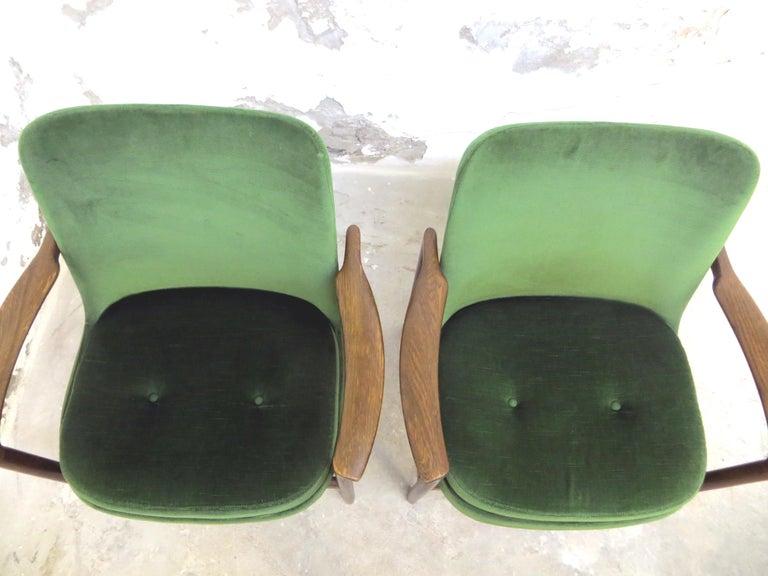 Ib Kofod-Larsen Danish Design Armchair Lounge Chairs in Green Velvet, Set of 6   9