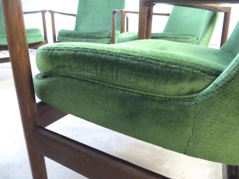 Ib Kofod-Larsen Danish Design Armchair Lounge Chairs in Green Velvet, Set of 6   10