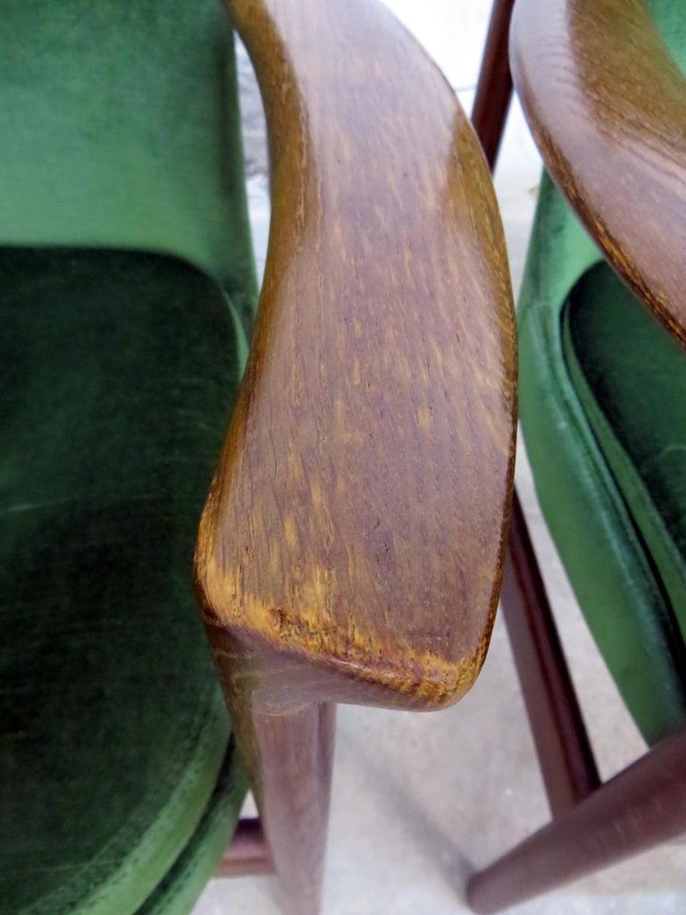 Ib Kofod-Larsen Danish Design Armchair Lounge Chairs in Green Velvet, Set of 6   12