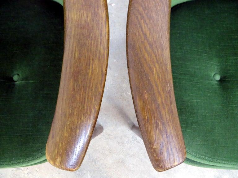 Ib Kofod-Larsen Danish Design Armchair Lounge Chairs in Green Velvet, Set of 6   14