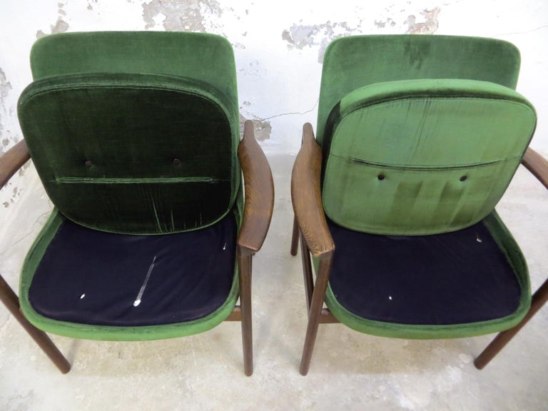 Ib Kofod-Larsen Dänisches Design Sessel Loungesessel aus Grünem Samt, Set von 6   20