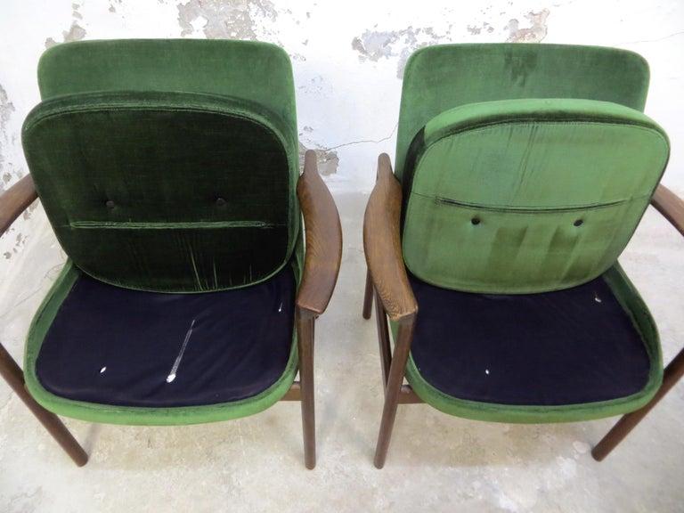 Ib Kofod-Larsen Danish Design Armchair Lounge Chairs in Green Velvet, Set of 6   15