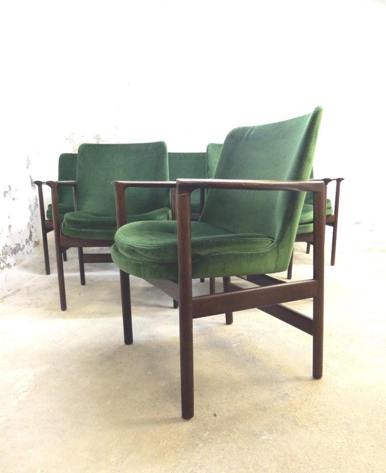 Mid-20th Century Ib Kofod-Larsen Danish Design Armchair Lounge Chairs in Green Velvet, Set of 6