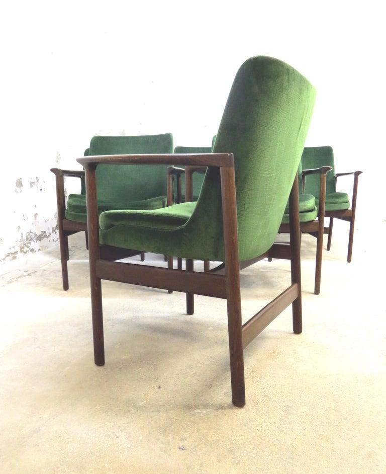 Ib Kofod-Larsen Danish Design Armchair Lounge Chairs in Green Velvet, Set of 6   1
