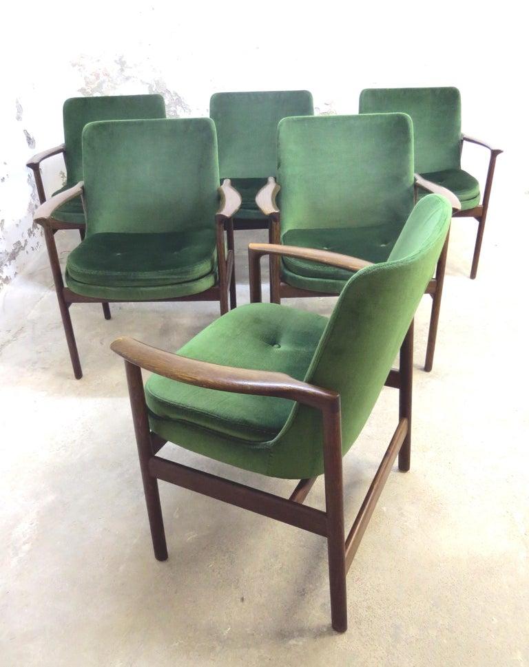Ib Kofod-Larsen Danish Design Armchair Lounge Chairs in Green Velvet, Set of 6   2
