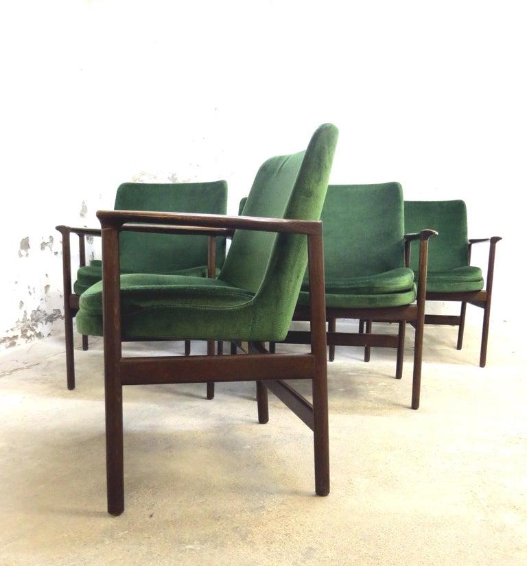 Ib Kofod-Larsen Danish Design Armchair Lounge Chairs in Green Velvet, Set of 6   3