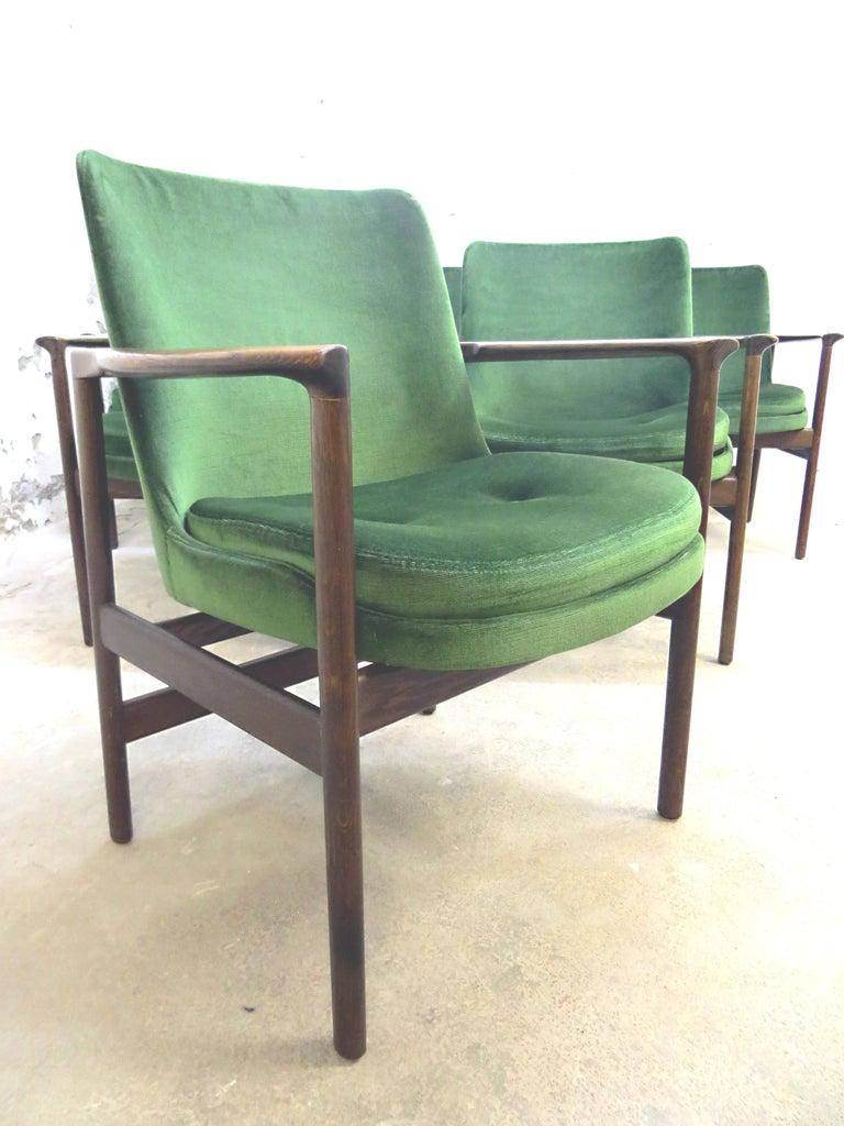 Ib Kofod-Larsen Danish Design Armchair Lounge Chairs in Green Velvet, Set of 6   4