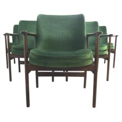 Ib Kofod-Larsen Danish Design Armchair Lounge Chairs in Green Velvet, Set of 6