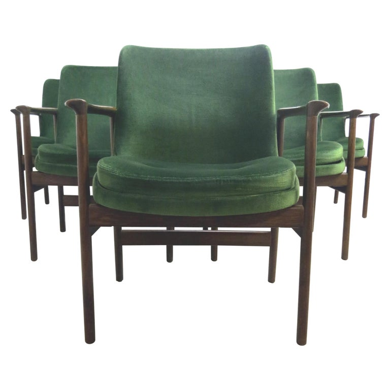 Ib Kofod-Larsen Danish Design Armchair Lounge Chairs in Green Velvet, Set of 6