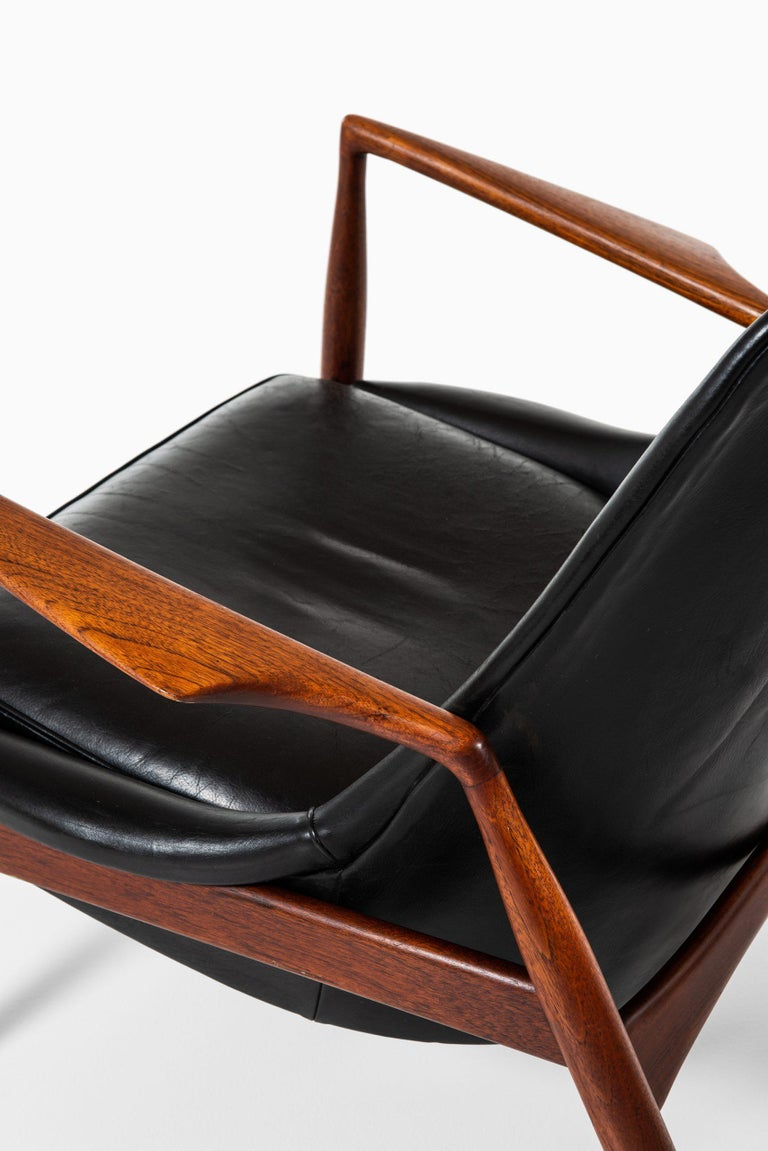 Leather Ib Kofod-Larsen Easy Chairs Model Sälen / Seal Produced by OPE in Sweden For Sale