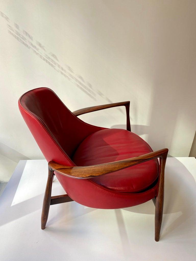 "Leather Ib Kofod - Larsen ""Elizabeth"" Chair in Rosewood, 1956 For Sale"