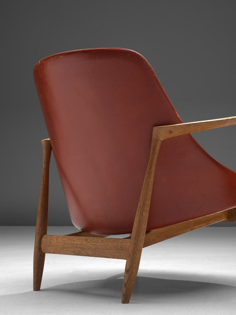 Ib Kofod-Larsen 'Elizabeth' Chairs with Ottoman in Original Aged Leather For Sale 4