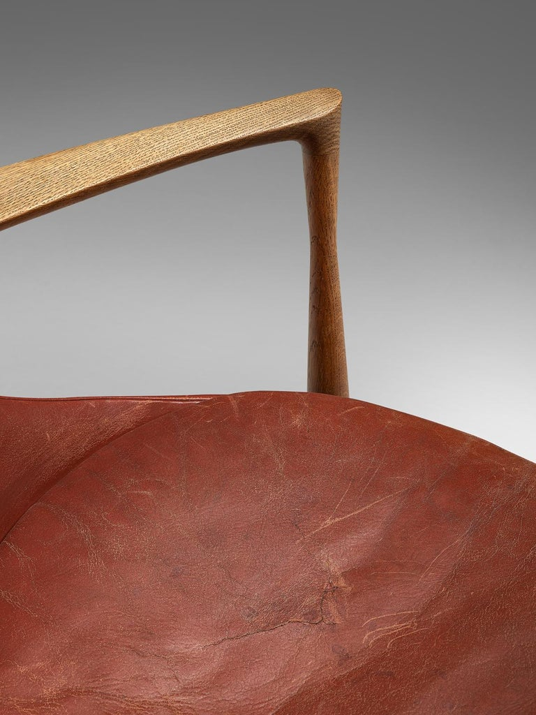 Ib Kofod-Larsen 'Elizabeth' Chairs with Ottoman in Original Aged Leather For Sale 5