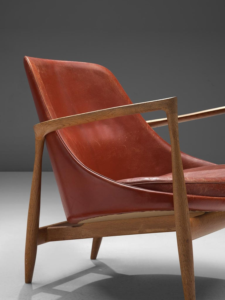 Ib Kofod-Larsen 'Elizabeth' Chairs with Ottoman in Original Aged Leather For Sale 6