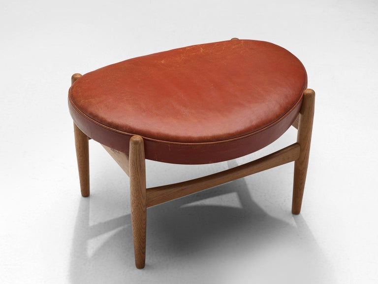 Ib Kofod-Larsen 'Elizabeth' Chairs with Ottoman in Original Aged Leather For Sale 7