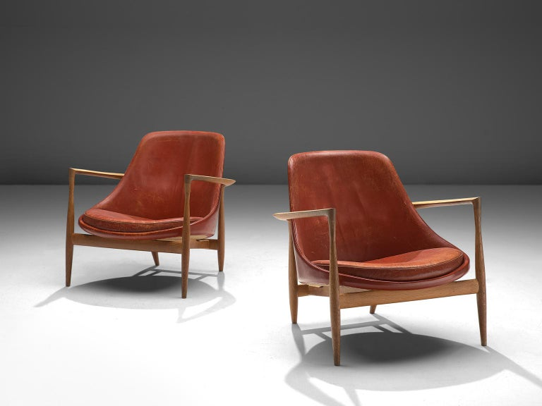 Scandinavian Modern Ib Kofod-Larsen 'Elizabeth' Chairs with Ottoman in Original Aged Leather For Sale