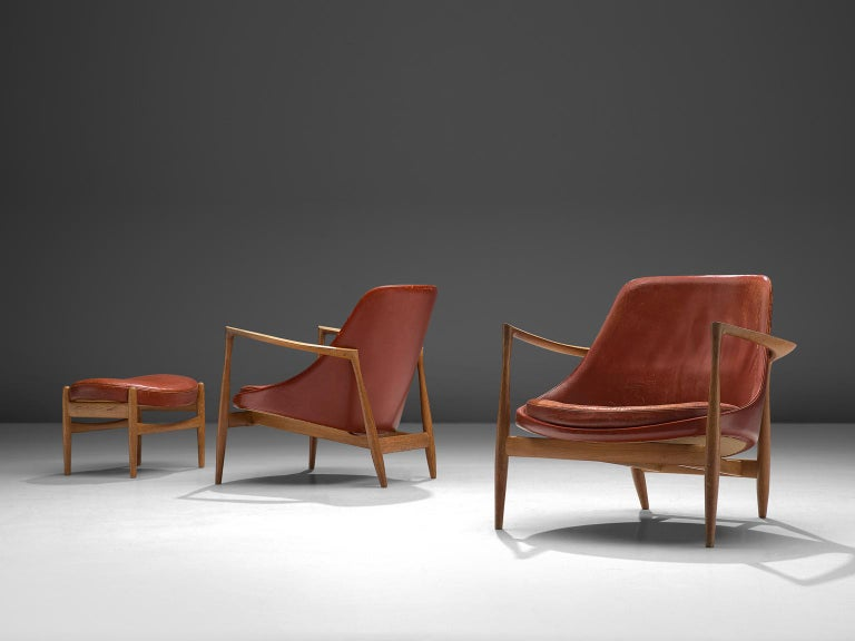 Danish Ib Kofod-Larsen 'Elizabeth' Chairs with Ottoman in Original Aged Leather For Sale