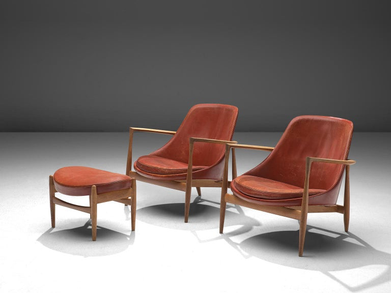 Mid-20th Century Ib Kofod-Larsen 'Elizabeth' Chairs with Ottoman in Original Aged Leather For Sale