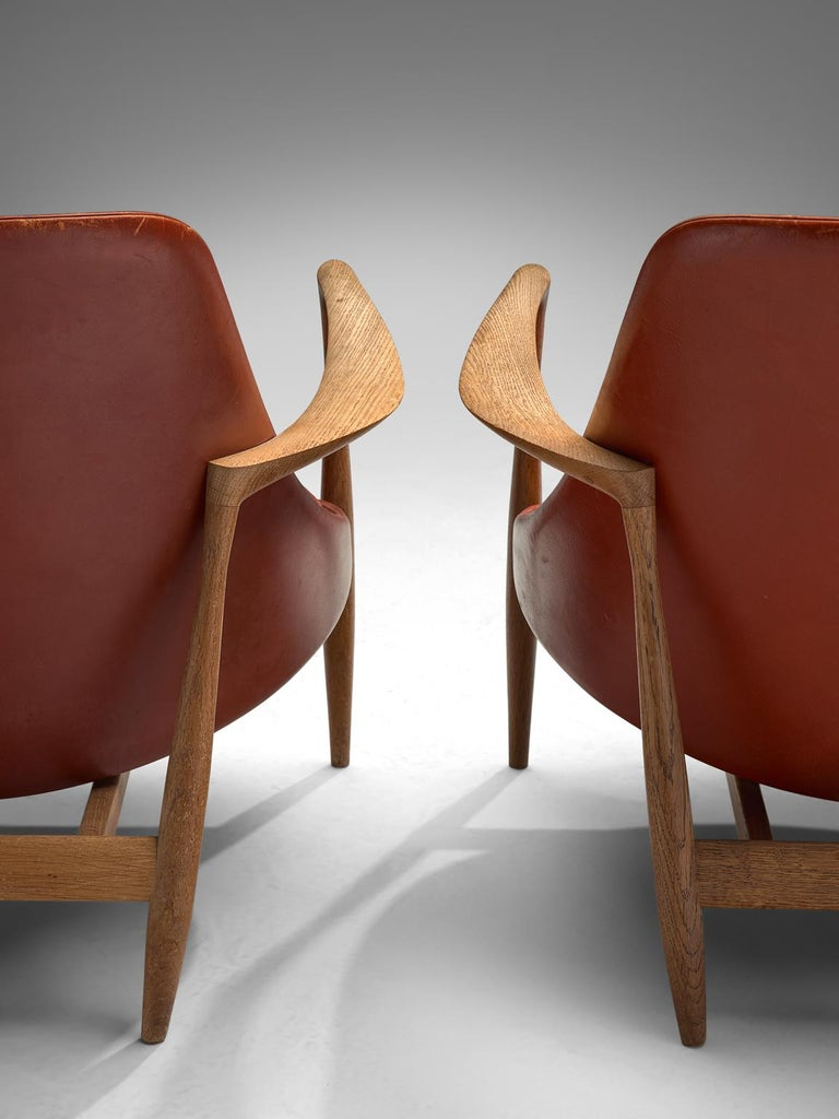 Ib Kofod-Larsen 'Elizabeth' Chairs with Ottoman in Original Aged Leather For Sale 1