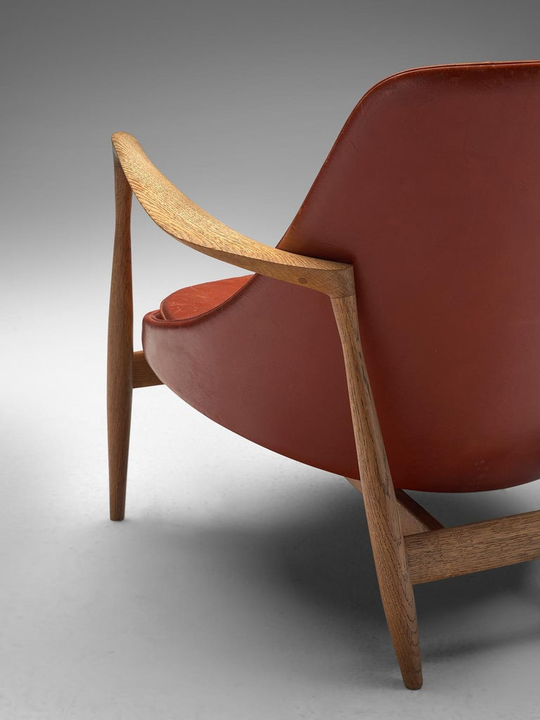 Ib Kofod-Larsen 'Elizabeth' Chairs with Ottoman in Original Aged Leather For Sale 2