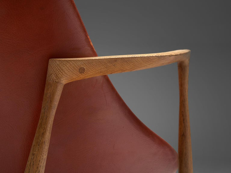 Ib Kofod-Larsen 'Elizabeth' Chairs with Ottoman in Original Aged Leather For Sale 3