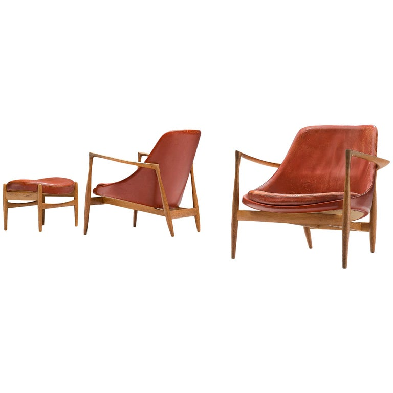 Ib Kofod-Larsen 'Elizabeth' Chairs with Ottoman in Original Aged Leather For Sale