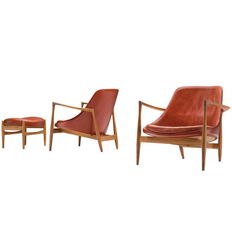 Ib Kofod-Larsen Elizabeth chairs and ottoman, 1956