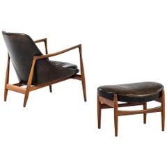 Ib Kofod-Larsen Elizabeth Easy Chair with Stool by Christensen & Larsen