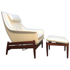 Ib Kofod-Larsen for Povl Dinesen Danish Lounge Chair and Ottoman