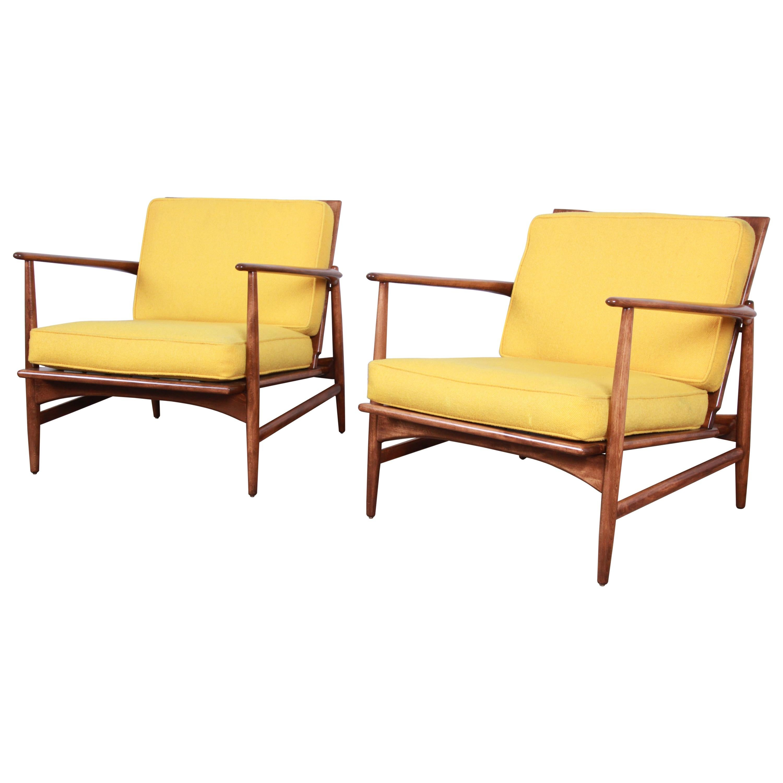 Ib Kofod-Larsen for Selig Danish Modern Sculpted Teak Lounge Chairs, Pair