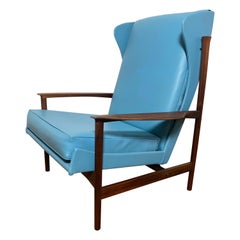 Ib Kofod-Larsen for Selig Danish Teak Wingback Lounge Chair Ca. 1960s