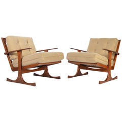 Ib Kofod-Larsen for Selig Denmark Lounge Chairs in Teak