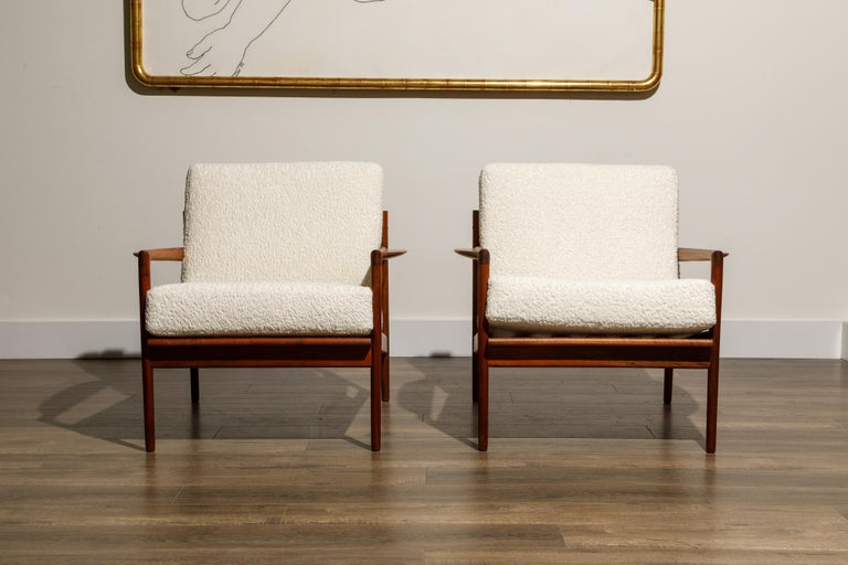 Mid-Century Modern IB Kofod-Larsen for Selig Lounge Chairs Reupholstered in Bouclé, c 1960