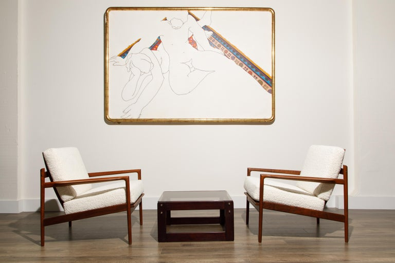 Danish IB Kofod-Larsen for Selig Lounge Chairs Reupholstered in Bouclé, c 1960