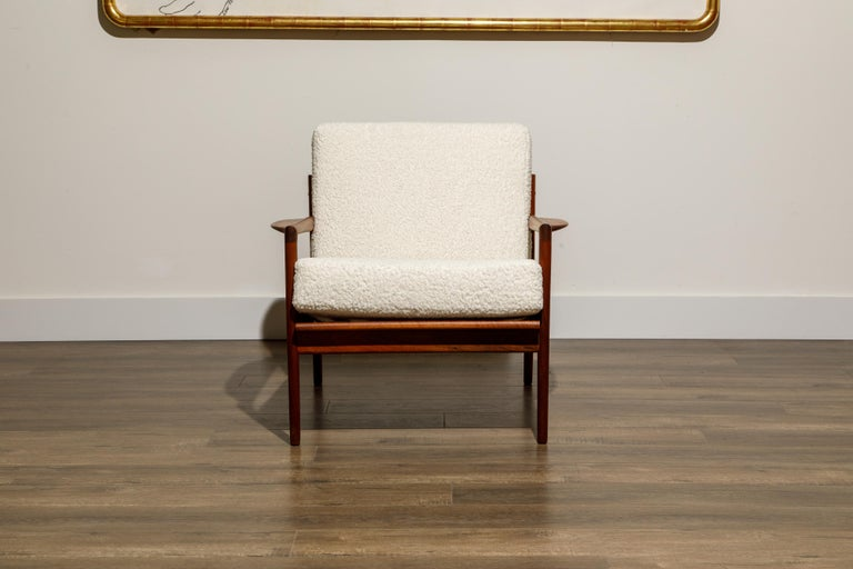 IB Kofod-Larsen for Selig Lounge Chairs Reupholstered in Bouclé, c 1960 In Good Condition In Los Angeles, CA