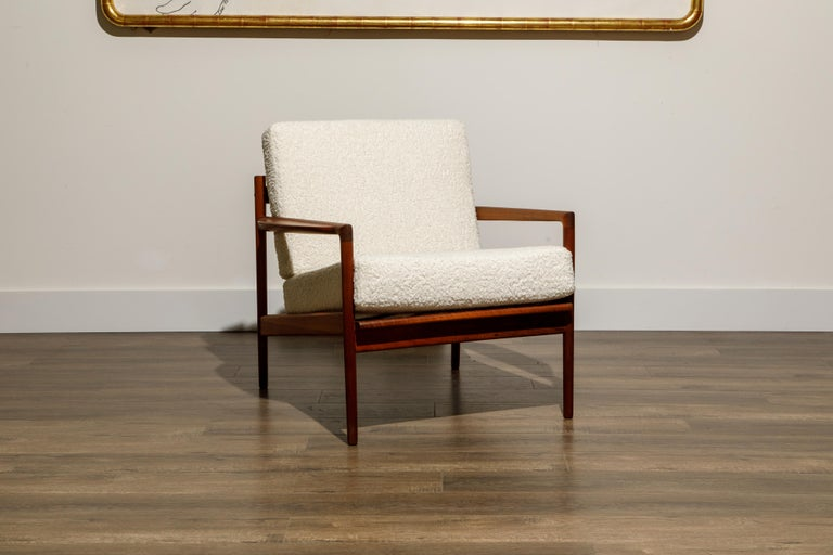 Mid-20th Century IB Kofod-Larsen for Selig Lounge Chairs Reupholstered in Bouclé, c 1960