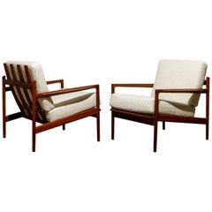 IB Kofod-Larsen for Selig Lounge Chairs Reupholstered in Bouclé, c 1960