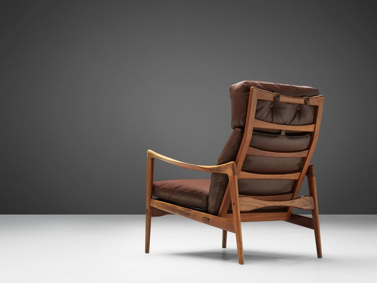 Swedish Ib Kofod-Larsen High Back Armchair in Teak and Brown Leather For Sale