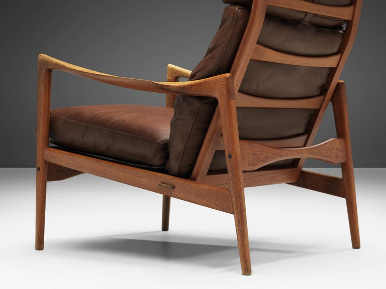 Mid-20th Century Ib Kofod-Larsen High Back Armchair in Teak and Brown Leather For Sale