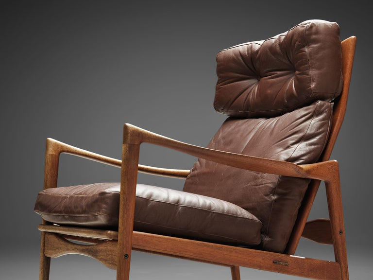 Ib Kofod-Larsen High Back Armchair in Teak and Brown Leather For Sale 1