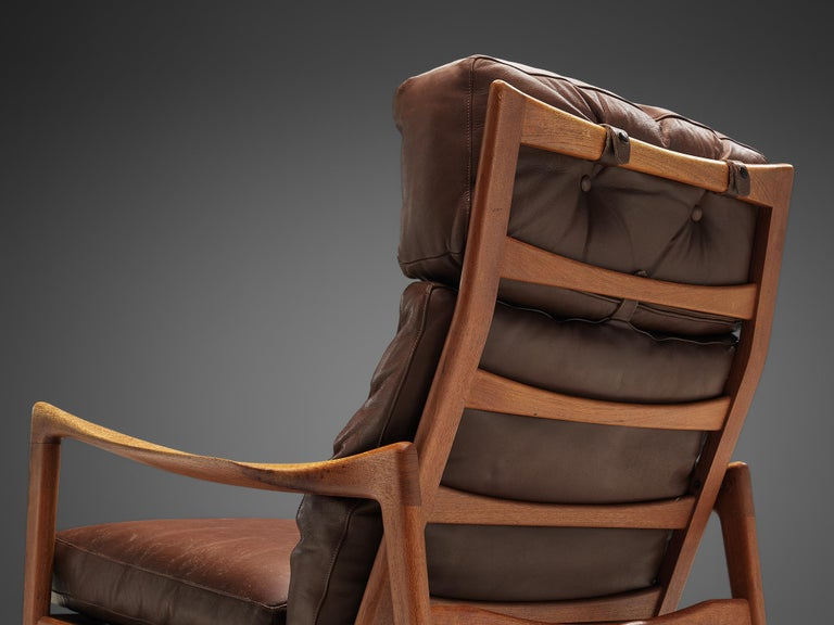 Ib Kofod-Larsen High Back Armchair in Teak and Brown Leather For Sale 2