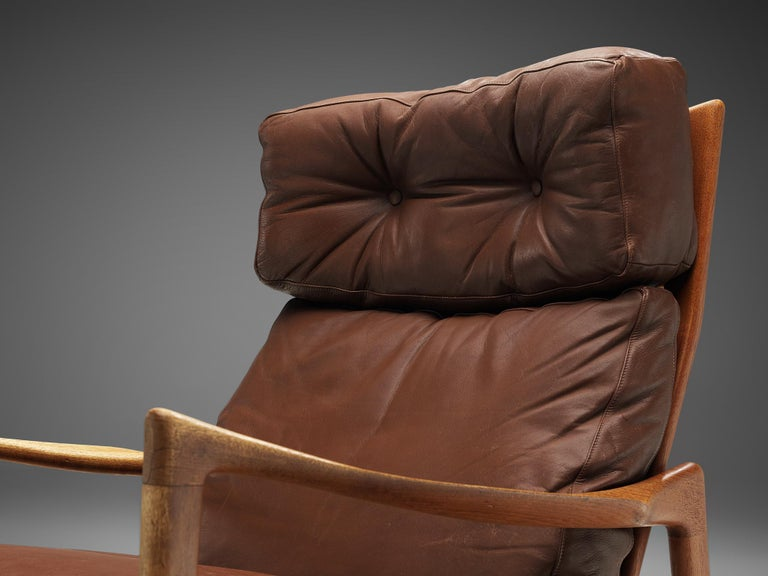 Ib Kofod-Larsen High Back Armchair in Teak and Brown Leather For Sale 3