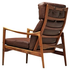 Ib Kofod-Larsen High Back Armchair in Teak and Brown Leather