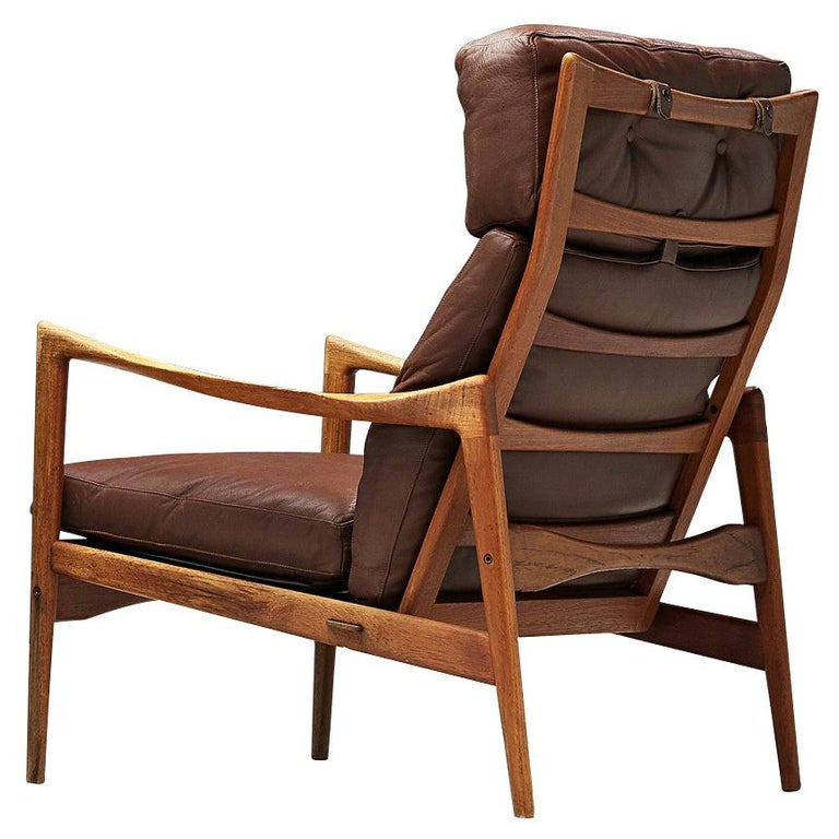 Ib Kofod-Larsen High Back Armchair in Teak and Brown Leather For Sale