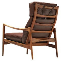 Ib Kofod-Larsen High Back Armchair in Teak and Brown Leather