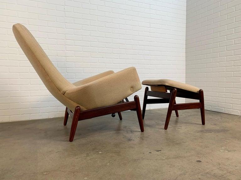 Mid-Century Modern I.B. Kofod-Larsen High Back Lounge Chair Model PD30 with Ottoman, circa 1960 For Sale