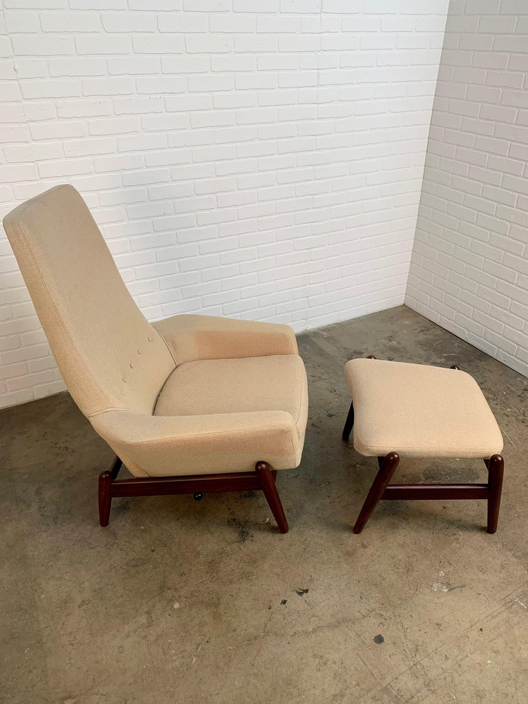 20th Century I.B. Kofod-Larsen High Back Lounge Chair Model PD30 with Ottoman, circa 1960 For Sale