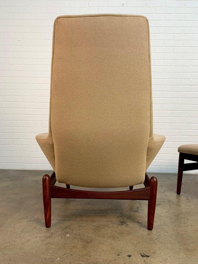 Upholstery I.B. Kofod-Larsen High Back Lounge Chair Model PD30 with Ottoman, circa 1960 For Sale